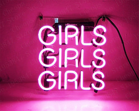 Girls Pink Gift Neon Signs Real Glass Tube Moon and Star Beer Bar Pub Homeroom Girlsroom Party Decor 10x10