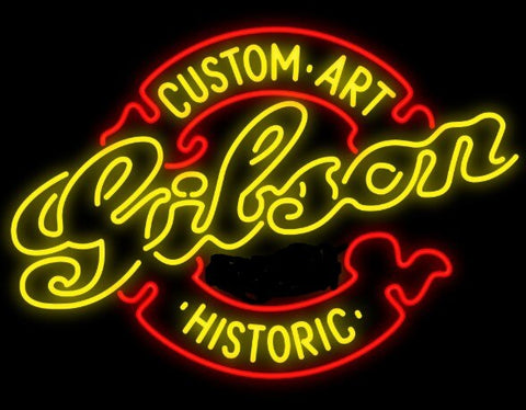 Custom Gibson Guitar Glass Neon Light Sign Beer Bar
