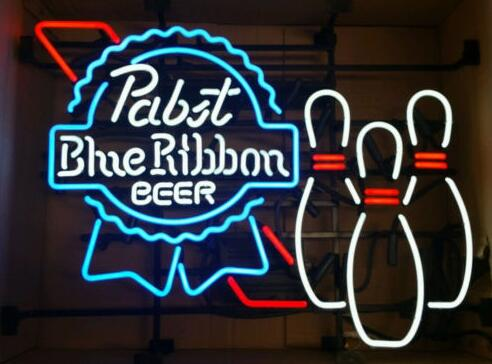 Pabst Blue Ribbon Bowling Glass Neon Light Sign