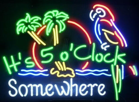 It's 5 O'clock Somewhere Glass Neon Light Sign