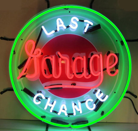 Custom Last Chance Garage Glass Neon Light Sign Beer Bar