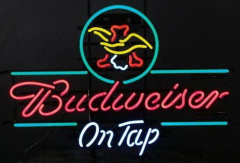 Custom Budweiser Eagle Glass Neon Light Sign Beer Bar