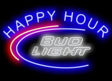 Custom Bud Light Happy Hour Glass Neon Light Sign Beer Bar
