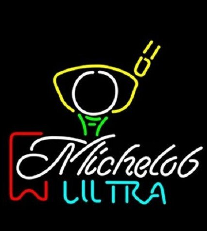 Custom  Michelob Ultra Red Ribbon Pga Golf Glass Neon Light Sign Beer Bar