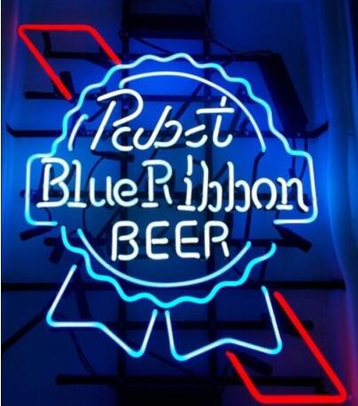 Custom Pabst Blue Ribbon Beer Glass Neon Light Sign Beer Bar