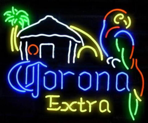 Custom Corona Extra Beer Parrot Glass Neon Light Sign Beer Bar