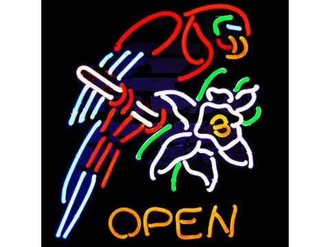 Open Parrot Flower Glass Neon Light Sign