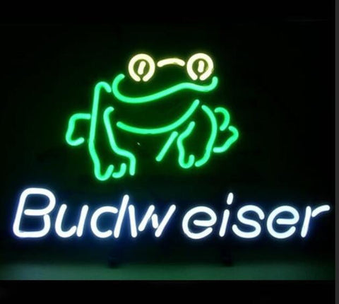 Custom Budweiser Frog Glass Neon Light Sign Beer Bar