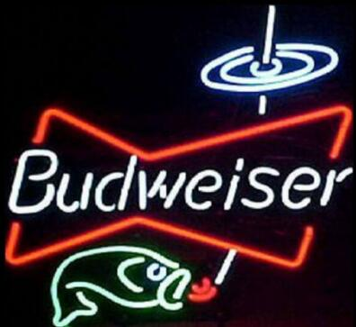 Custom Budweiser Fishing Glass Neon Light Sign Beer Bar