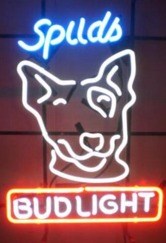Custom Made Spuds Bud Light Glass Neon Light Sign Beer Bar