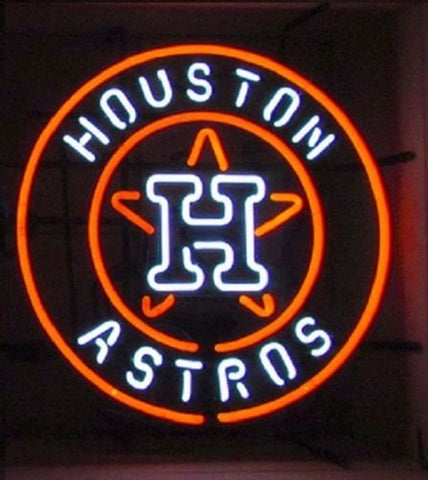 Houston Astros Glass Neon Light Sign Beer Bar