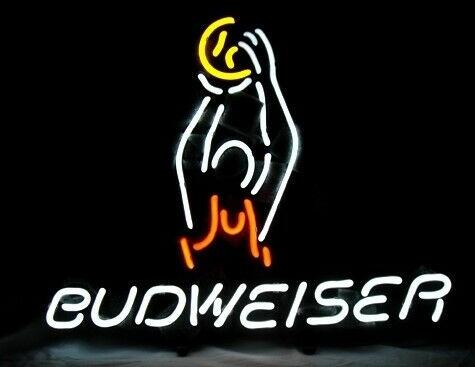 Custom BUDWEISER BASKETBALL Glass Neon Light Sign Beer Bar
