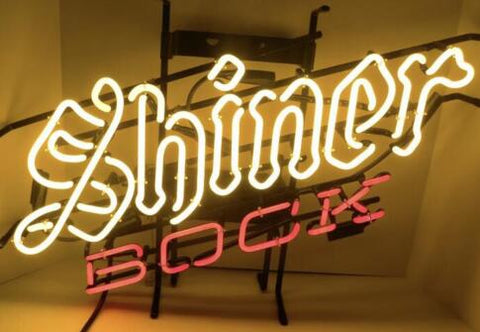 Shiner Bock Glass Neon Light Sign Beer Bar