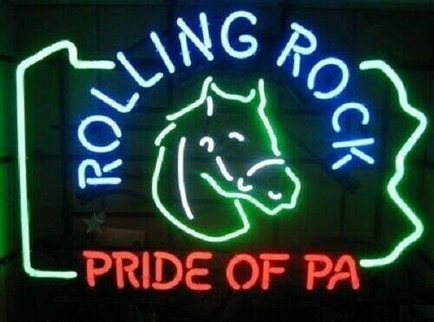 Custom Rolling Rock Pride Of PA Glass Neon Light Sign Beer Bar