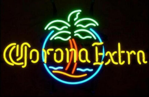 Custom Corona Extra Circle Palm Glass Neon Light Sign Beer Bar