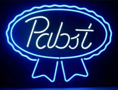 Custom Pabst Blue Ribbon Glass Neon Light Sign Beer Bar