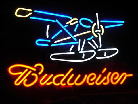Custom Budweiser Seaplane Glass Neon Light Sign Beer Bar