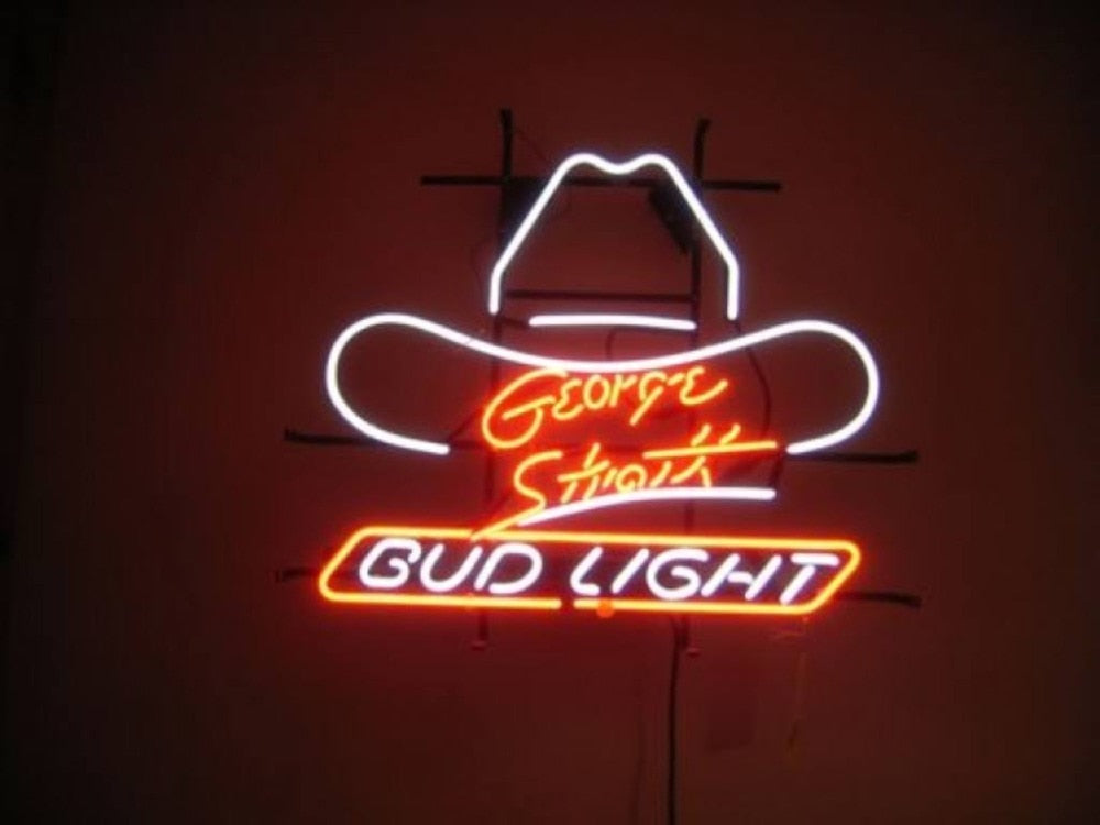 GEORGE STRAIT BUD LIGHT Glass Neon Light Sign