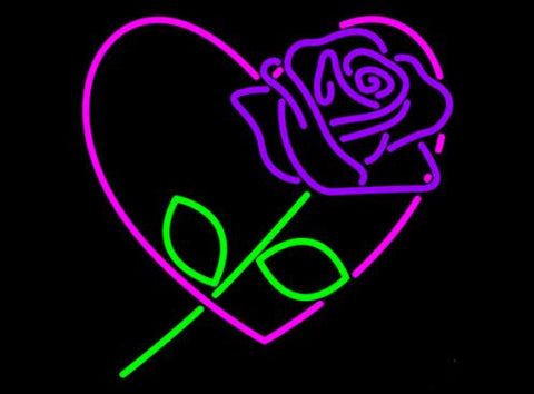 Custom Purple Rose Love Glass Neon Light Sign Beer Bar