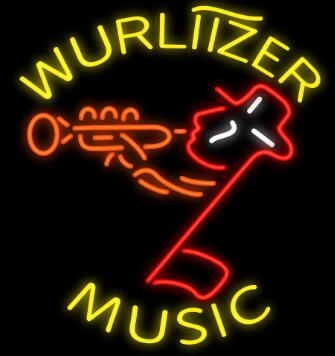 Wurlitzer Music Glass Neon Light Sign Beer Bar