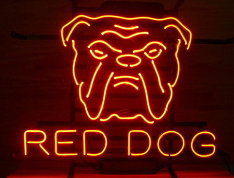 Custom Red Dog Glass Neon Light Sign Beer Bar