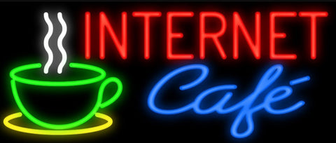 Custom Internet Cafe Glass Neon Light Sign Beer Bar