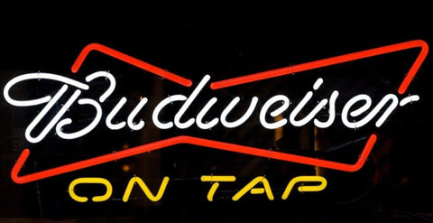 Custom Budweiser On Tap Glass Neon Light Sign Beer Bar