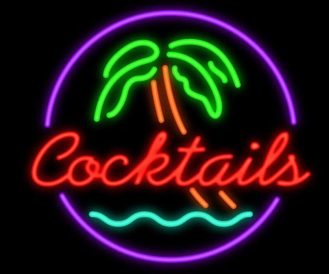 Cocktails Palm Tree Garage Glass Neon Light Sign Beer Bar