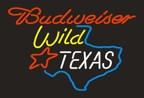 Budweiser Wild Texas Map Glass Neon Light Sign