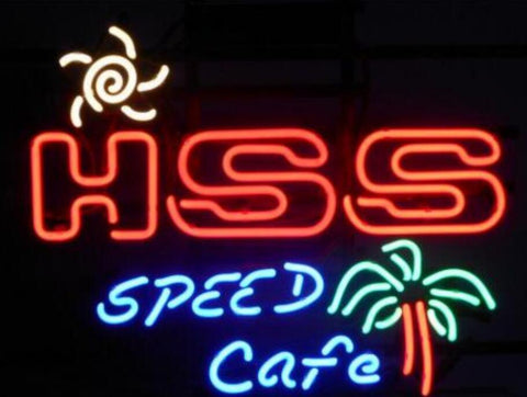 Custom HSS SPEED CAFE Glass Neon Light Sign Beer Bar