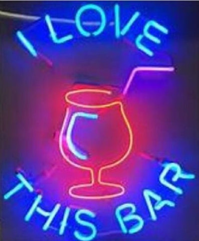 Custom I Love This Bar Glass Neon Light Sign Beer Bar