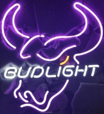 Bud Light Bull Glass Neon Light Sign Beer Bar