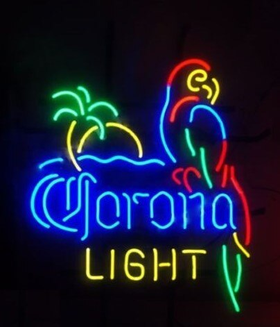 Custom Corona Light Parrot With Palm Tree Glass Neon Light Sign Beer Bar