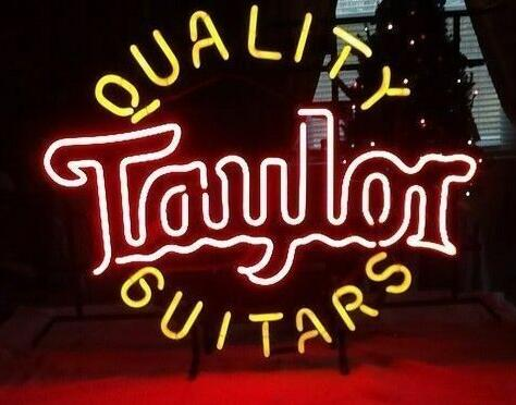 Custom Quality Guitars Taylor Glass Neon Light Sign Beer Bar