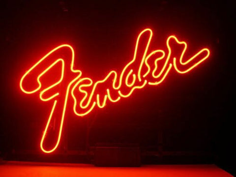 Fender Guitar Glass Neon Light Sign Beer Bar