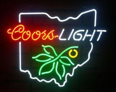 Custom Made Coors Light Ohio State Glass Neon Light Sign Beer Bar