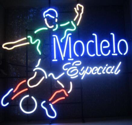 Modelo Especial Soccer Glass Neon Light Sign Beer Bar
