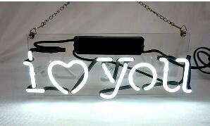 I Love You Glass Neon Light Sign