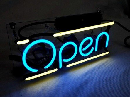 Custom Open Glass Neon Light Sign Beer Bar