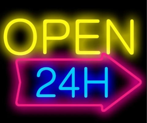 Custom Open 24H Glass Neon Light Sign Beer Bar