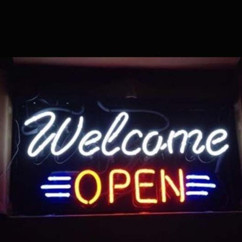 Custom Welcome Open Glass Neon Light Sign Beer Bar