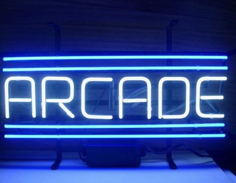 Custom Arcade Blue Glass Neon Light Sign Beer Bar
