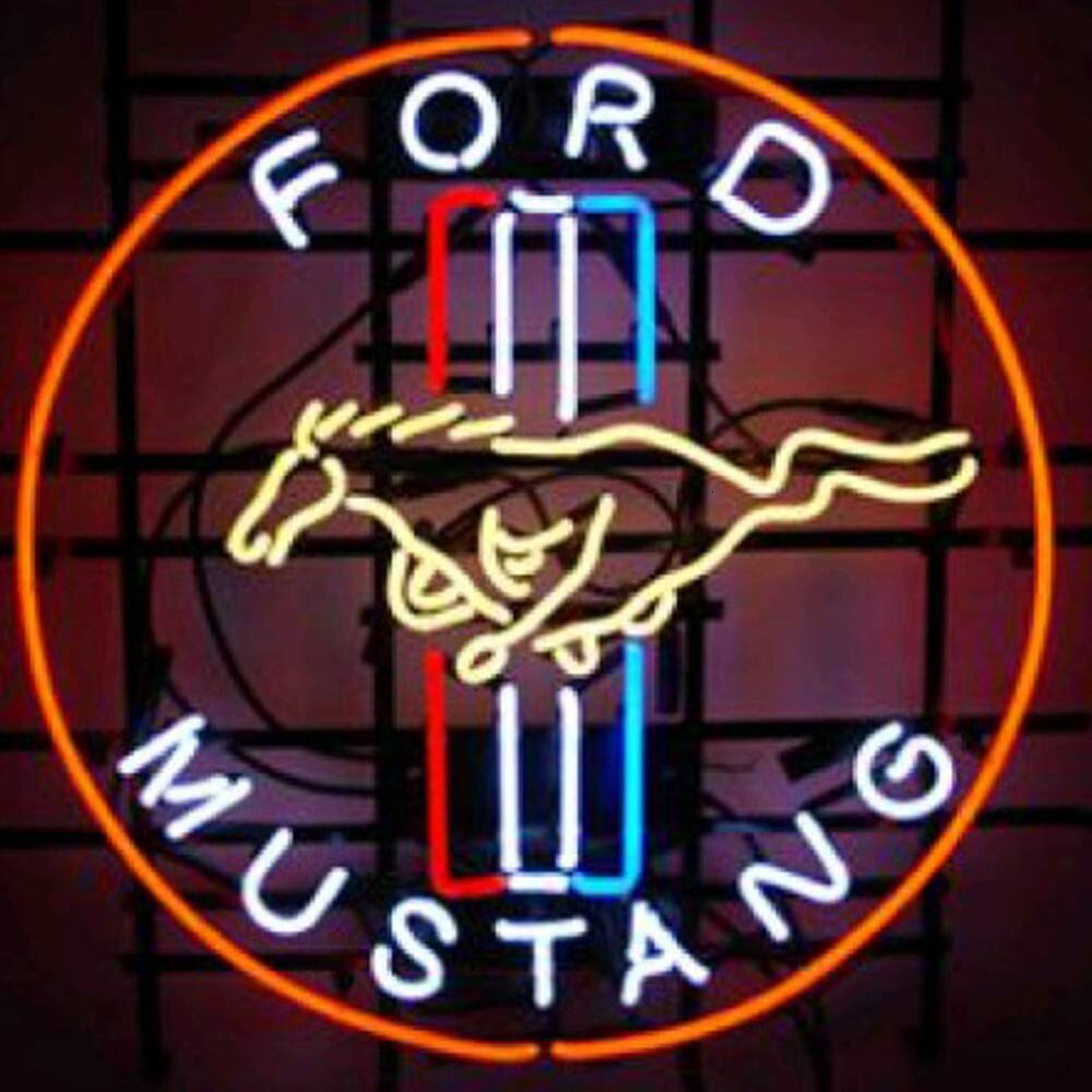 Custom for FORD MUSTANG Neon Sign Light Real Glass Neon Tube HandMade Beer Bar Shop Logo Pub Store Club Garage Nightclub