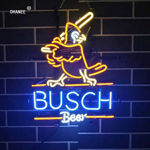 Custom for Busch Beer Bar Busch Light Deer  Neon Sign Light Real Glass Neon Tube HandMade Shop Logo Pub Store Advertise