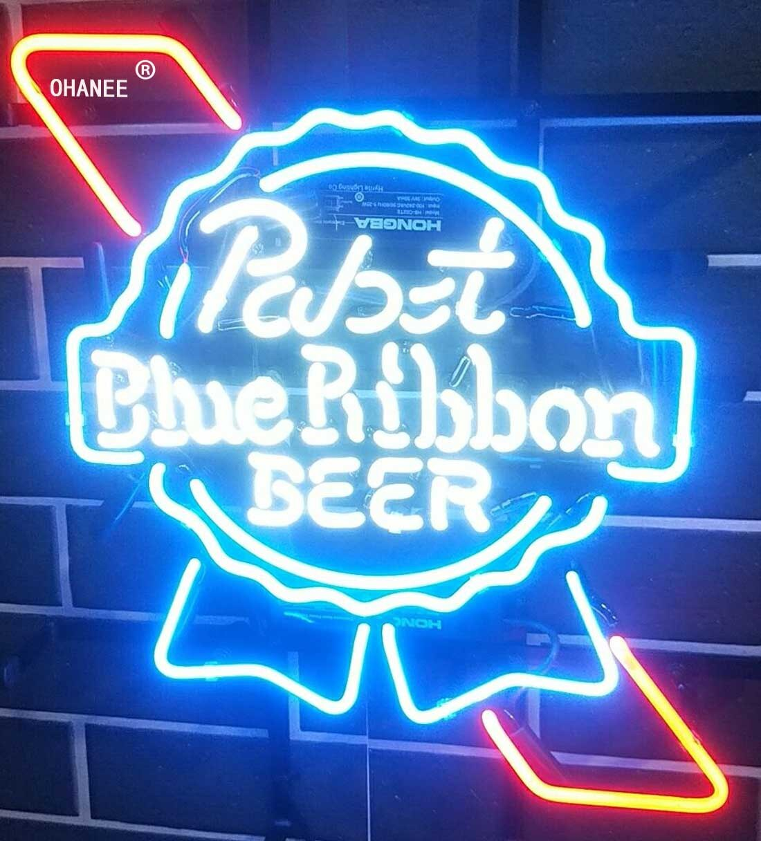 Custom for Pabst Blue Ribbon Beer Neon Sign Light Real Glass Neon Tube HandMade Shop Logo Pub Store Advertise