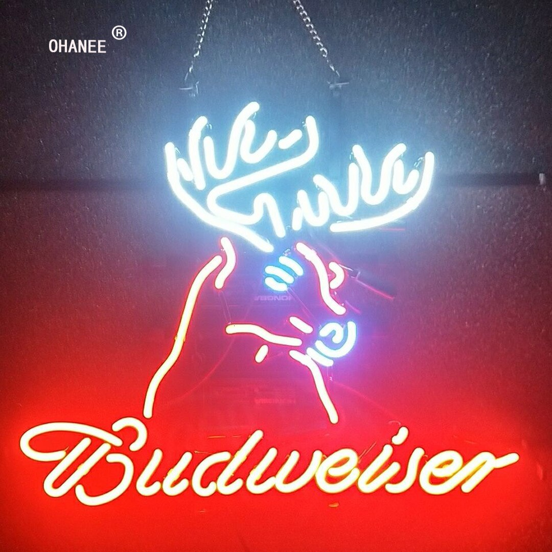 Custom for Budweiser Neon Sign Light Real Glass Neon Tube HandMade Beer Bar Shop Logo Pub Store Club Garage Nightclub