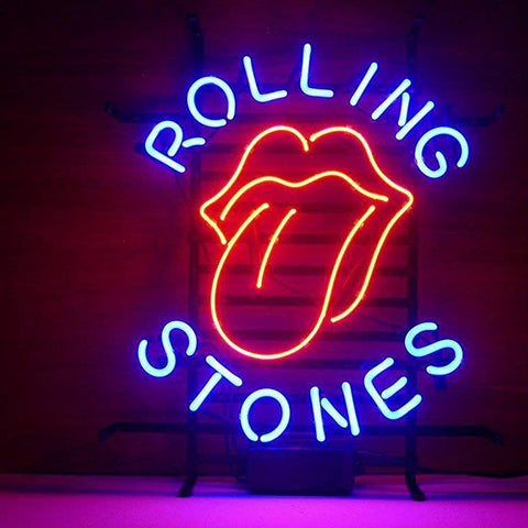 Custom for Rolling Stones Neon Sign Light Real Glass Neon Tube HandMade Beer Bar Shop Logo Pub Store Club Garage Nightclub