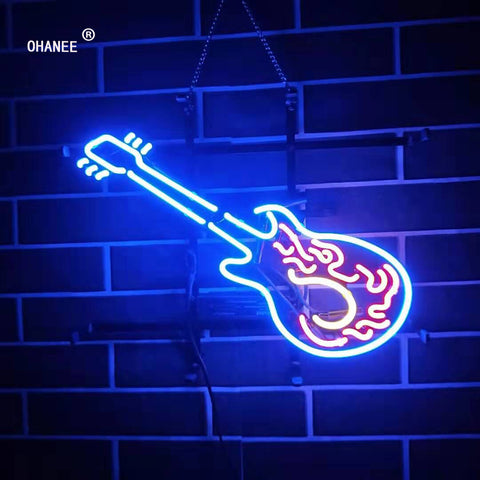 Custom Guitar Music Neon Sign Light  Real  Glass Neon Tube HandMade Beer Bar Shop Logo Pub Store Club Nightclub Advertise