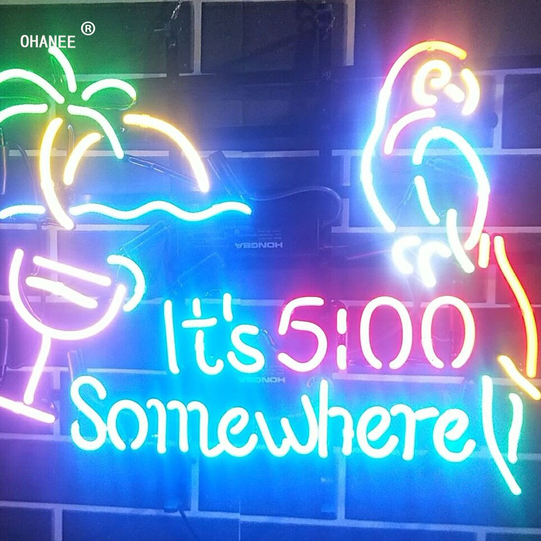 Custom for Its 5:00 Somewhere It's 500 O'clock Light Deer Neon Sign Light Real Glass Neon Tube HandMade Shop Logo Pub Store