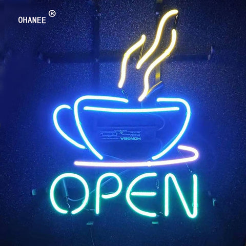 Coffee Store Open Neon Sign Light  Real  Glass Neon Tube HandMade Beer Bar Shop Logo Pub Store Club Nightclub Advertise